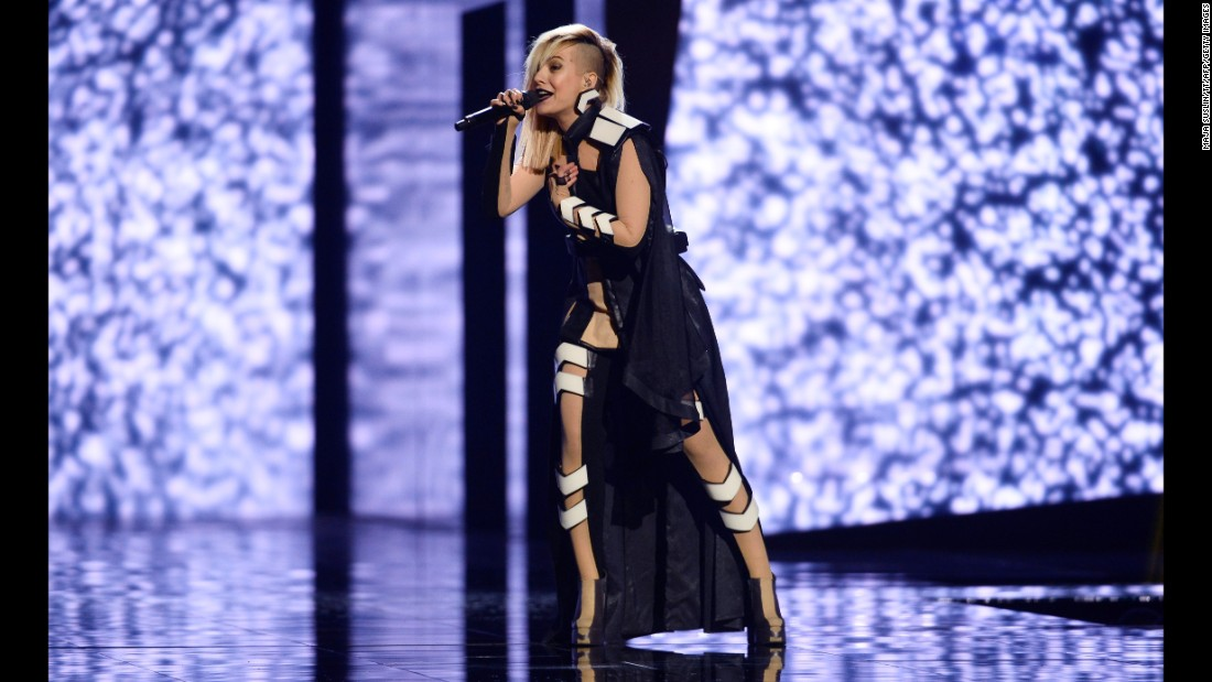 Bulgaria's Poli Genova belts out a song May 11, 2016, on the eve of the second semifinal of the Eurovision Song Contest.