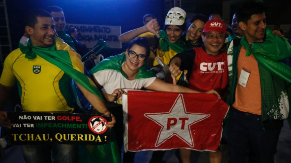 """Brazilians celebrate the impeachment of President Dilma Rousseff in Sao Paulo, Brazil on May 12, 2016. The former leader <a href=""""http://www.cnn.com/2016/05/12/americas/brazil-rousseff-impeachment-vote/index.html"""">denounced the move as """"a coup.""""</a>"""