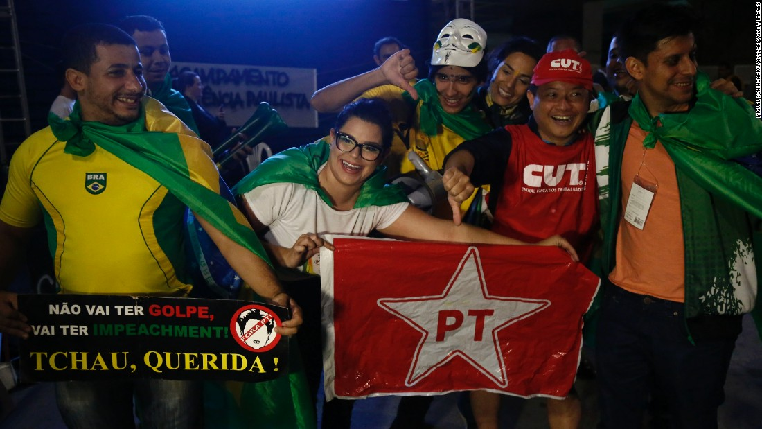 "Brazilians celebrate the impeachment of President Dilma Rousseff in Sao Paulo, Brazil on May 12, 2016. The former leader <a href=""http://www.cnn.com/2016/05/12/americas/brazil-rousseff-impeachment-vote/index.html"">denounced the move as ""a coup.""</a>"