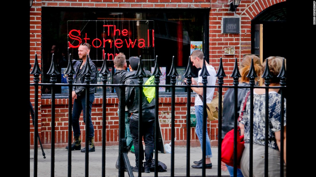 "Visitors gather outside New York's Stonewall Inn, an iconic symbol of the modern gay rights movement, on Monday, May 9. President Barack Obama <a href=""http://www.cnn.com/2016/05/09/travel/stonewall-inn-nps-national-monument-gay-rights/index.html"" target=""_blank"">is likely to approve a plan</a> to make the bar the first-ever national monument to lesbian, gay, bisexual and transgender rights, administration officials told CNN."