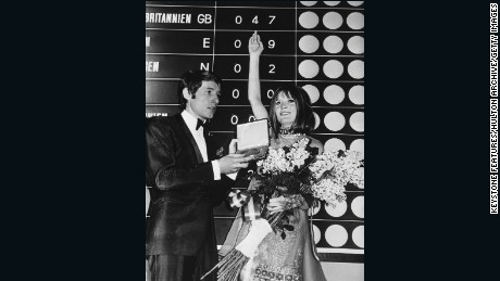 "British singer Sandie Shaw wins Eurovision in 1967 with her song ""Puppet on a String."""
