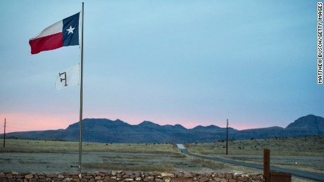 The Texas flag flies at the entrance to the Cibolo Creek Ranch early Sunday, the day after the death of Supreme Court Justice Antonin Scalia, February 14 , 2016 in Shafter, Texas.