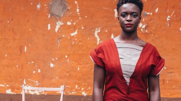 Lyra Aoko, photographer and blogger, wearing  Kenyan designer Kepha Maina.  Traditional fabrics such as Kanga are often used to produce bespoke pieces in Nairobi.