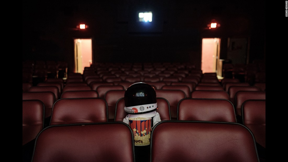 "This photo inside a movie theater was captioned by Sheldon as ""Training Films."""