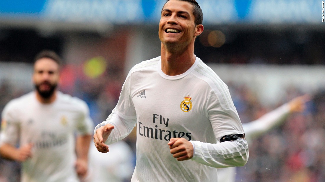 Ronaldo is all smiles after scoring his second goal before halftime at Deportivo. He did not appear after the break.