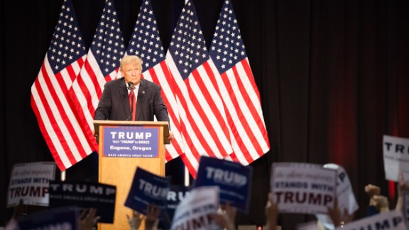 US Republican presidential candidate Donald Trump speaks to supporters during a rally in Eugene, Oregon on May 6, 2016.