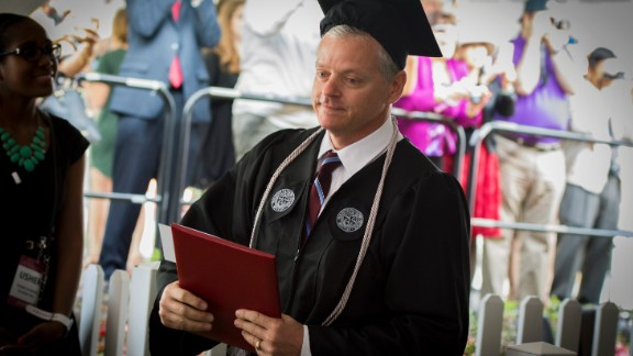 Michael Vaudreuil receives his degree from Worcester Polytechnic Institute.