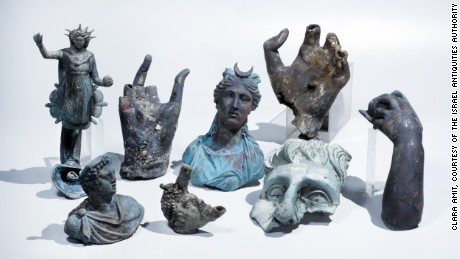 The rare bronze artifacts that were discovered in Caesarea.