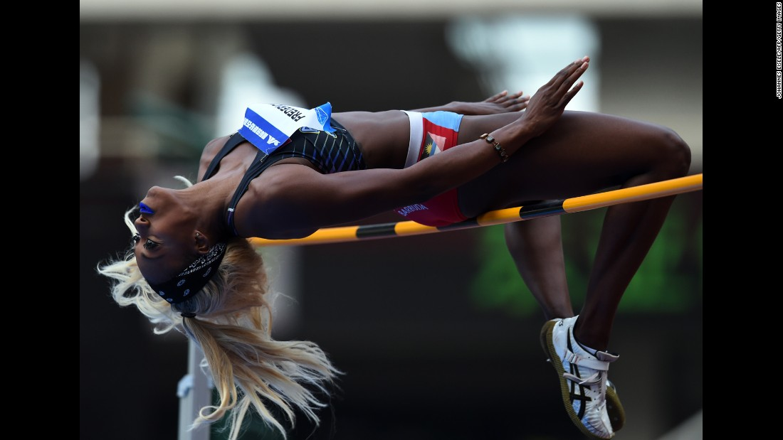 High jumper Priscilla Frederick competes for Antigua and Barbuda during the Diamond League event in Shanghai, China, on Saturday, May 14.