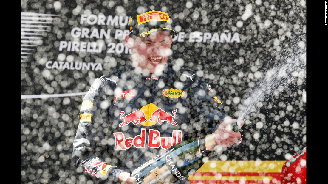 "Formula One driver Max Verstappen celebrates on the podium after <a href=""http://www.cnn.com/2016/05/15/motorsport/spanish-grand-prix-max-verstappen-lewis-hamilton-nico-rosberg/index.html"" target=""_blank"">winning the Spanish Grand Prix</a> on Sunday, May 15. The 18-year-old is the youngest F1 winner ever."