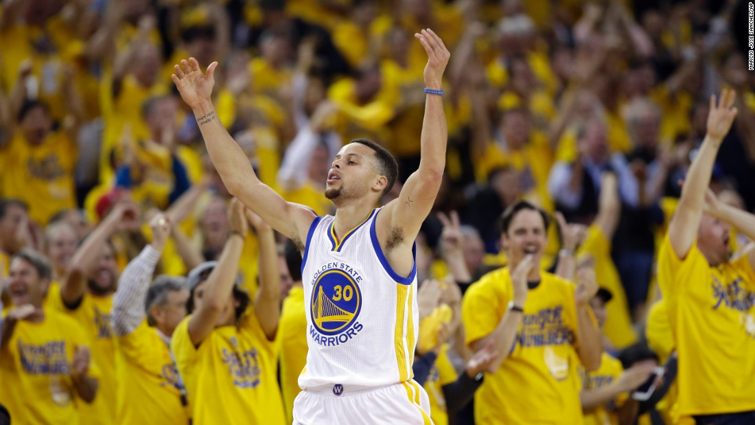 "Stephen Curry celebrates a basket during an NBA playoff game against Portland on Wednesday, May 11. Curry scored 29 points as Golden State advanced to the Western Conference Finals. Earlier in the day, he was <a href=""http://www.cnn.com/2016/05/13/sport/stephen-curry-zeitgeist/"" target=""_blank"">named league MVP</a> for the second year in a row."
