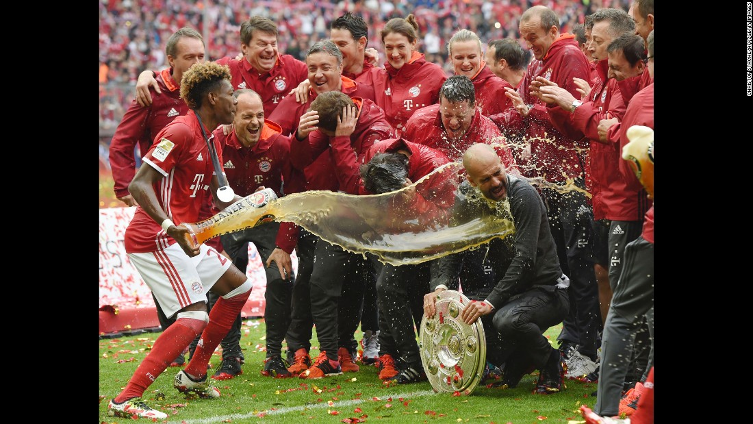 "Bayern Munich manager Pep Guardiola is doused in beer as the soccer club celebrates <a href=""http://www.cnn.com/2016/05/07/football/bayern-munich-bundesliga/"" target=""_blank"">its German league title</a> on Saturday, May 14. It is the fourth straight title for Bayern."