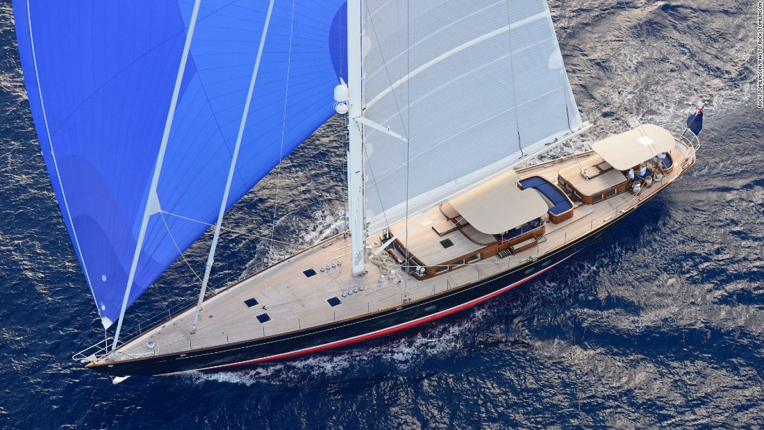 The 38.8m sloop was designed by Andre Hoek Naval Architects and built by Claasen Shipyards in The Netherlands.