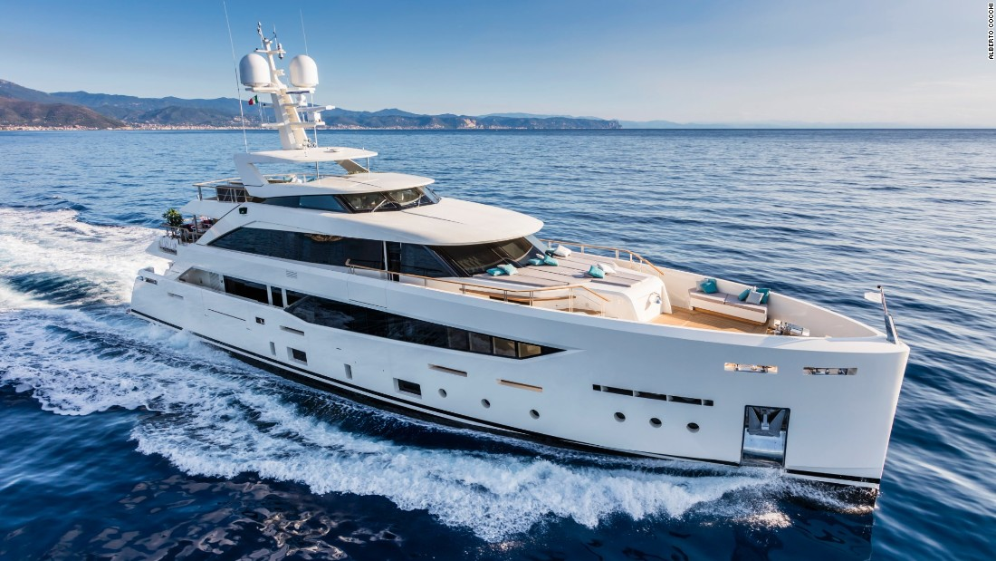 "The 42.3m entry from Italian shipyard Mondomarine displays ""modern yet extremely harmonious exterior lines that perfectly match her interior."" It gives the owner private use of the entire upper deck, along with four guest cabins below."