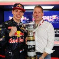 max verstappen and Dad Jos Verstappen after his first win in Spain