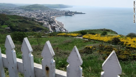 The Welsh seaside resort of Aberystwyth, seen from the top of Constitution Hill.