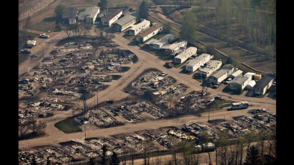 Charred remains of homes are seen in Fort McMurray on May 13.