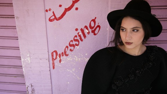 Inass Saghdaoui, Fashion Graduate. Saghdaoui is interested in the use of industrial fabrics to make feminine clothing, she says.