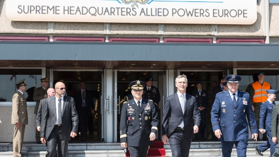 NATO Secretary general Jens Stoltenberg (2ndR), outgoing Supreme Allied Commander Europe (SACEUR) General Philip Mark Breedlove (R) and new SACEUR top commander General Curtis Michael Mike Scaparrotti (2ndL), walk towards the change of command ceremony for NATOs SACEUR on May 4, 2016, at Supreme Headquarters Allied Powers Europe (SHAPE), in Mons. / AFP / Thierry Monasse        (Photo credit should read THIERRY MONASSE/AFP/Getty Images)