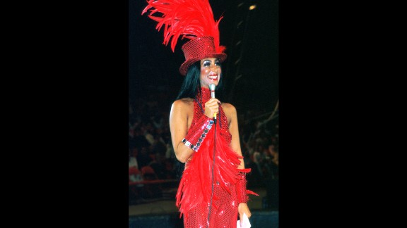 In 1974, Cher performs as ringmaster on the opening day of the Ringling Bros. Circus in Inglewood, California.