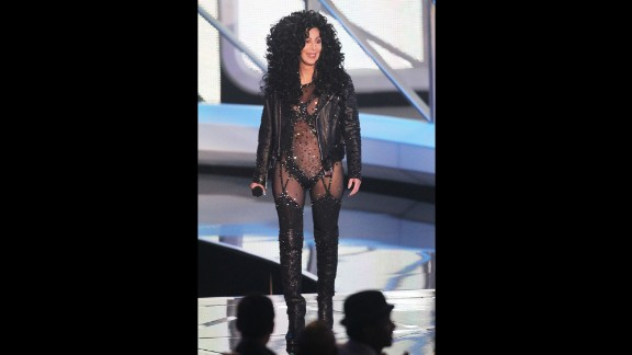 Cher speaks on stage at the 2010 MTV Video Music Awards.