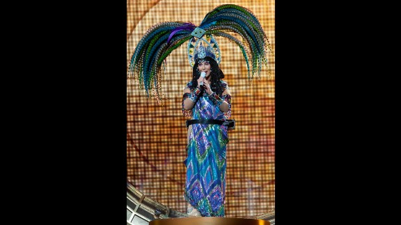 """Cher performs during her """"Dressed To Kill Tour"""" in 2014."""