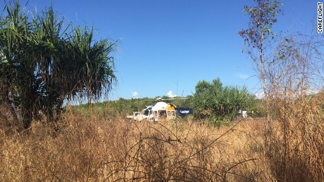 A CareFlight helicopter seen near the scene of a crocodile attack near Darwin.
