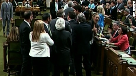 Tensions were high in the House of Commons Wednesday as Prime Minister Justin Trudeau pushed through a group of MPs, leading to a shouting match with NDP Leader Thomas Mulcair and accusations that the prime minister elbowed an NDP MP in the chest.        Date Shot: 5/18/2016      Shipping/Billing Info:            Description:     Projects:     None    Cost Center:     Atlanta National Desk / 20100101        Created By: jemoore    On: 1463611981    --------------------------------------------------------------------------------