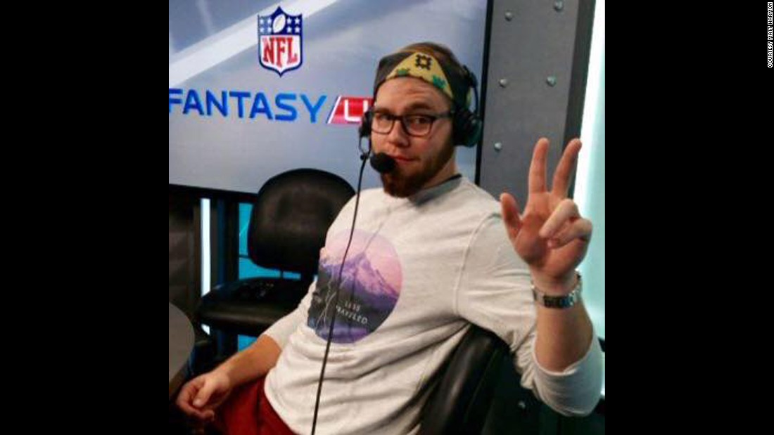 After taking his dream job as a writer for NFL.com in July, Harmon moved to Los Angeles. Part of his job includes podcasting, as seen here in December. By the end of his first NFL season, he had gained 10 pounds back but has a plan to stay fit and healthy going into his second season.