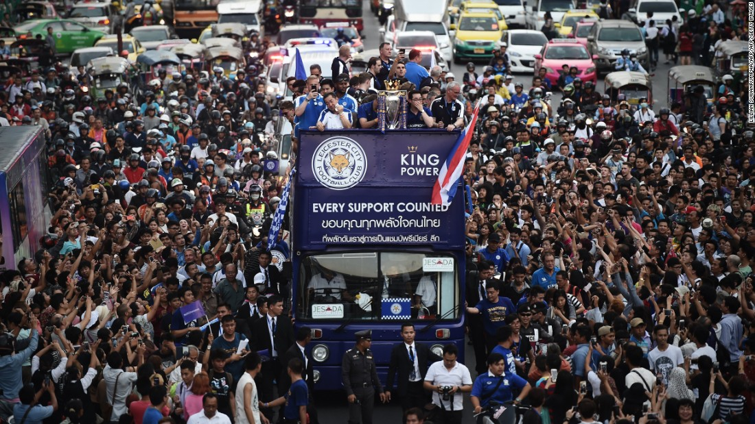 Huge crowds thronged to enjoy a glimpse of the Premier League trophy and the Leicester stars who won it. The team lost only three league games all season on its way to glory.