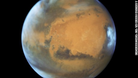 This Hubble image shows Mars as it moved in for its closest approach to Earth in 11 years.