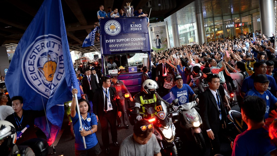 The streets of Bangkok became a sea of Leicester blue as vast crowds turned out to greet the English champions.