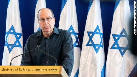 "Israeli Defense Minister Moshe ""Bogie"" Ya'alon announces his resignation Friday in Tel Aviv."