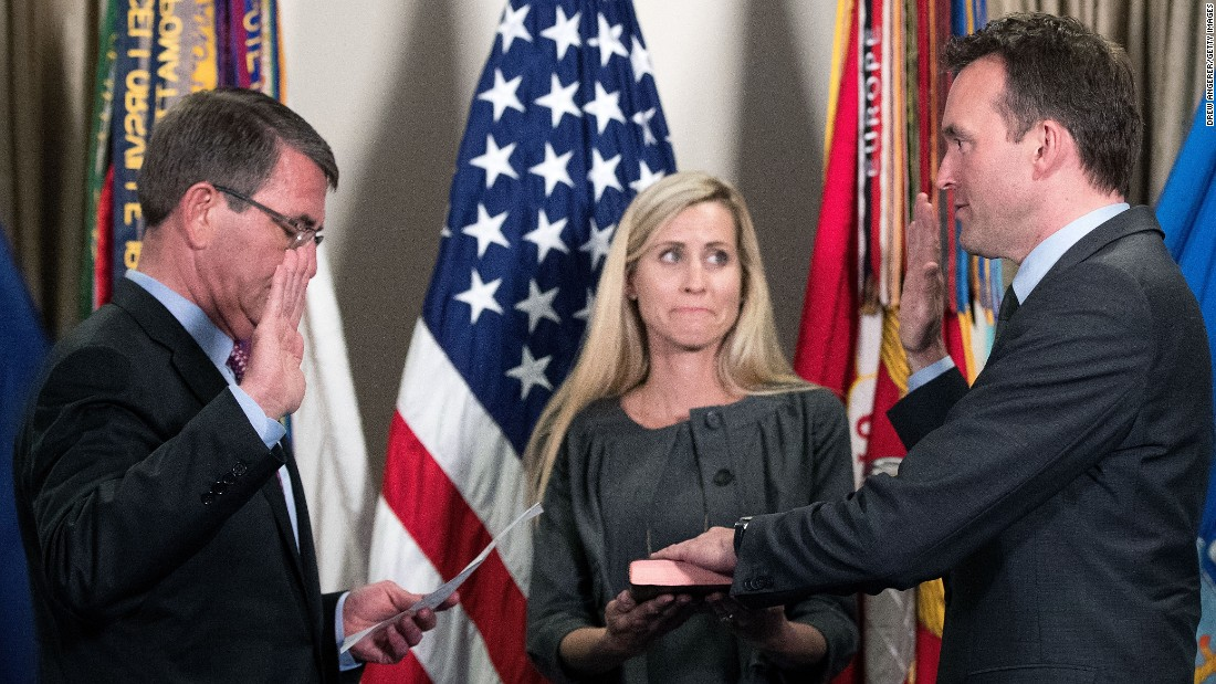 "U.S. Defense Secretary Ash Carter, left, swears in Secretary of the Army Eric Fanning during a ceremony at the Pentagon on Wednesday, May 18. Fanning <a href=""http://www.cnn.com/2016/05/17/politics/eric-fanning-secretary-of-the-army/"" target=""_blank"">is the first openly gay secretary</a> of a U.S. military branch."