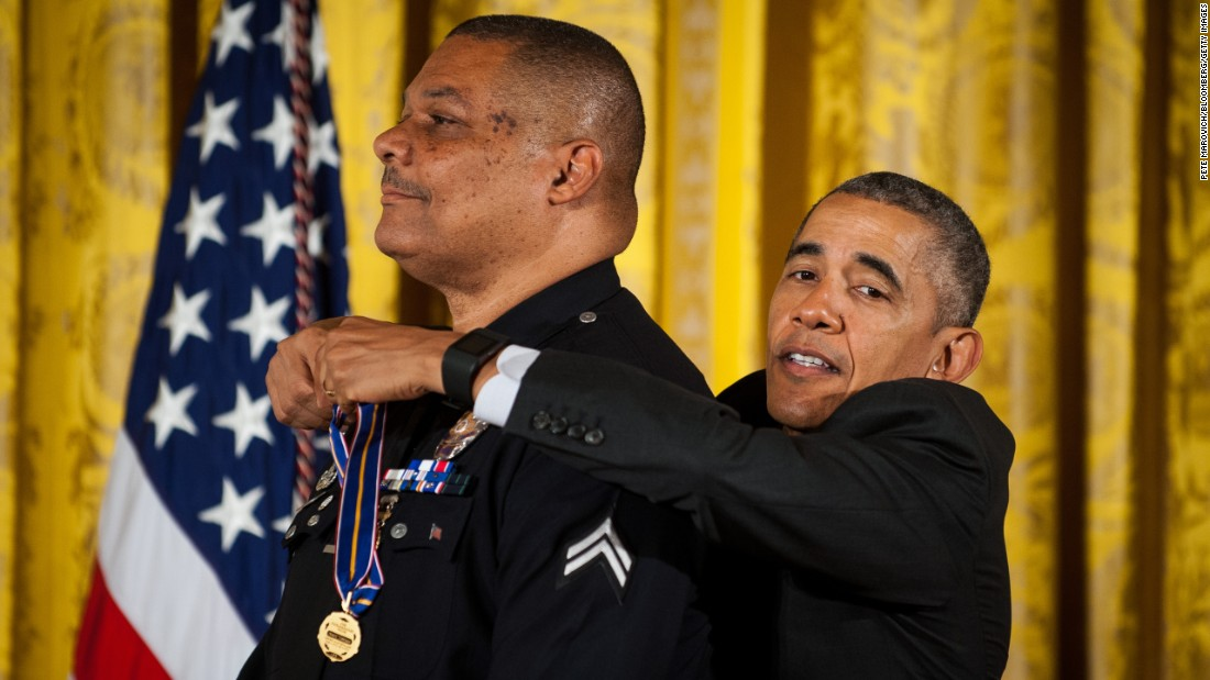 U.S. President Barack Obama awards the Medal of Valor to Los Angeles police Officer Donald Thompson on Monday, May 16. While off duty, Thompson endured first- and second-degree burns as he pulled a man from a car moments before it was engulfed in flames.