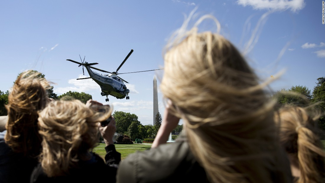"Marine One lifts off from the South Lawn of the White House on Sunday, May 15. The President was bound for Rutgers University, where he was <a href=""http://www.cnn.com/2016/05/15/politics/obama-donald-trump-rutgers-university/"" target=""_blank"">giving the commencement address. </a>"
