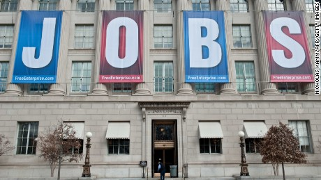 "A banner reading ""Jobs"" hangs on the facade of the US Chamber of Commerce in Washington on February 22, 2011."