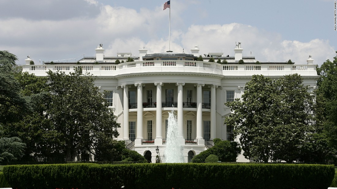 The exterior view of the south side of the White House.