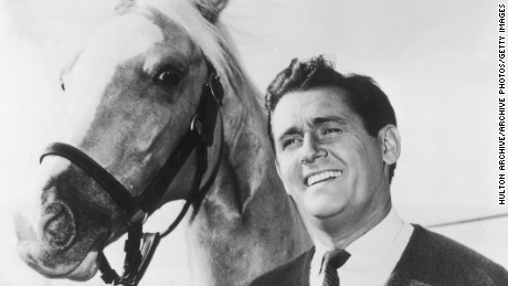 circa 1964:  British-born actor Alan Young and Mr Ed, the talking horse, pose together in a promotional portrait for the television comedy series, 'Mr Ed'.  (Photo by Hulton Archive/Getty Images)