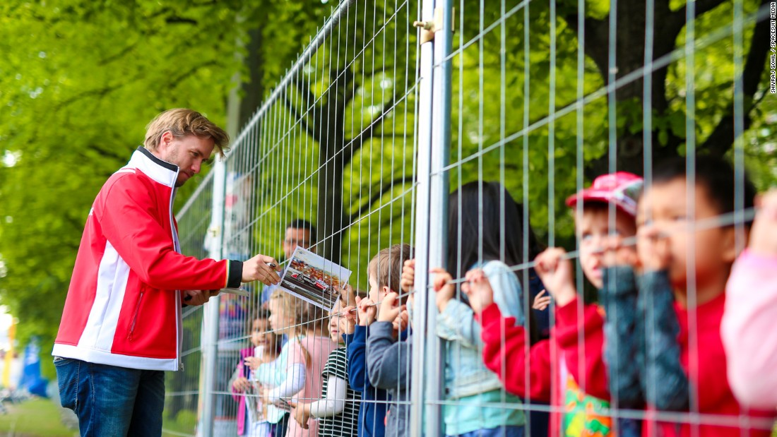 The German, who spent 12 seasons in Formula One, is popular with young fans trackside.