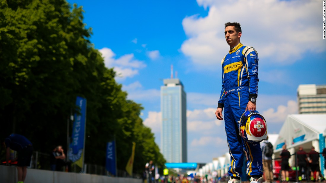 Sebastien Buemi poses on the Berlin ePrix track. The Swiss, who drives for the Renault e.Dams team, trails di Grassi by 11 points in the drivers' championship.