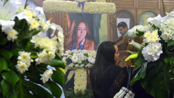 A portrait of Yara Hani Faraq Tawfiq  is seen during a memorial service.