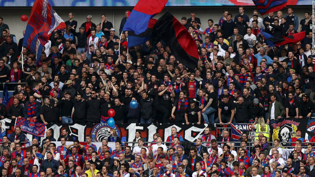 Crystal Palace fans show their colorful and noisy support.