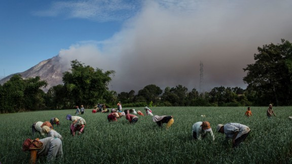 Farmers work in the fields as smoke rises from Mount Sinabung in June 2015. A 4-kilometer (2.5-mile) area around the mountain was declared a danger zone in 2014 and residents told to evacuate, but people still returned to tend to their homes and land.