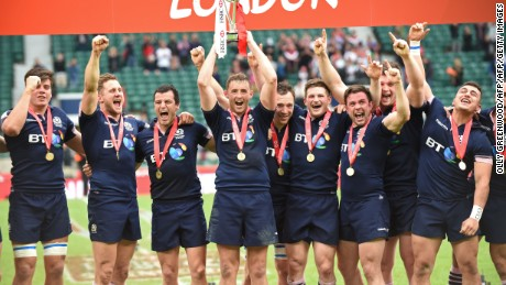Scotland's players celebrate after winning the final event of the World Rugby Sevens Series.