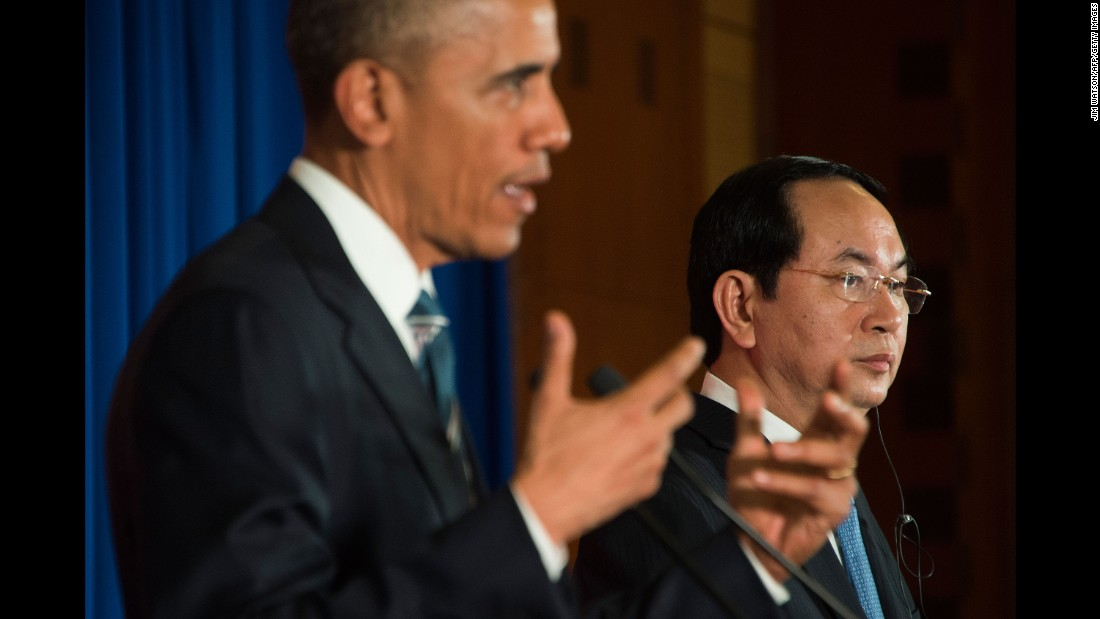 Obama holds a news conference with Vietnamese President Tran Dai Quang on May 23. Obama announced the United States is fully lifting the decades-long ban on the sale of military equipment to Vietnam. He said the removal of the ban was part of a deeper defense cooperation with the country and dismissed suggestions it was aimed at countering China's growing strength in the region.
