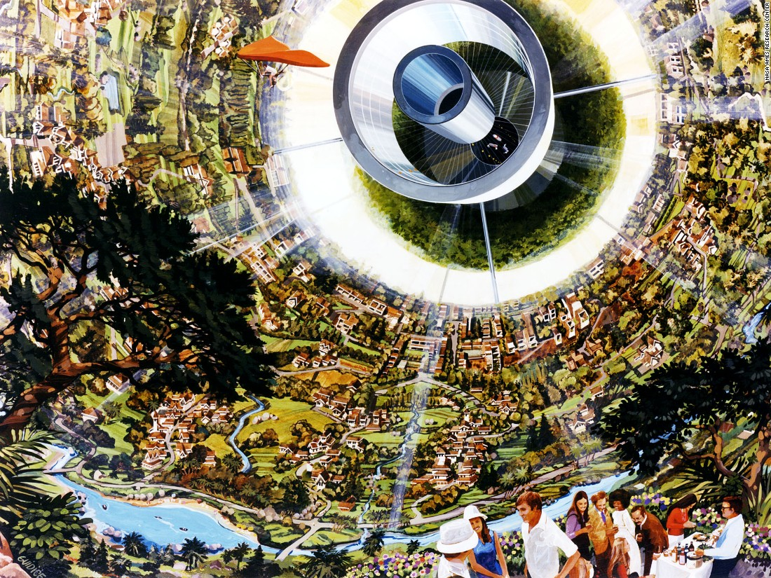 "The Bernal Sphere was first proposed by John Desmond Bernal as far back as 1929, with O'Neill's team adapting the half-century old idea. Shrunk down to 500 meters wide they proposed a highly-curved living surface that featured a ""crystal palace"" for agriculture and light reflected in via windows near the poles."
