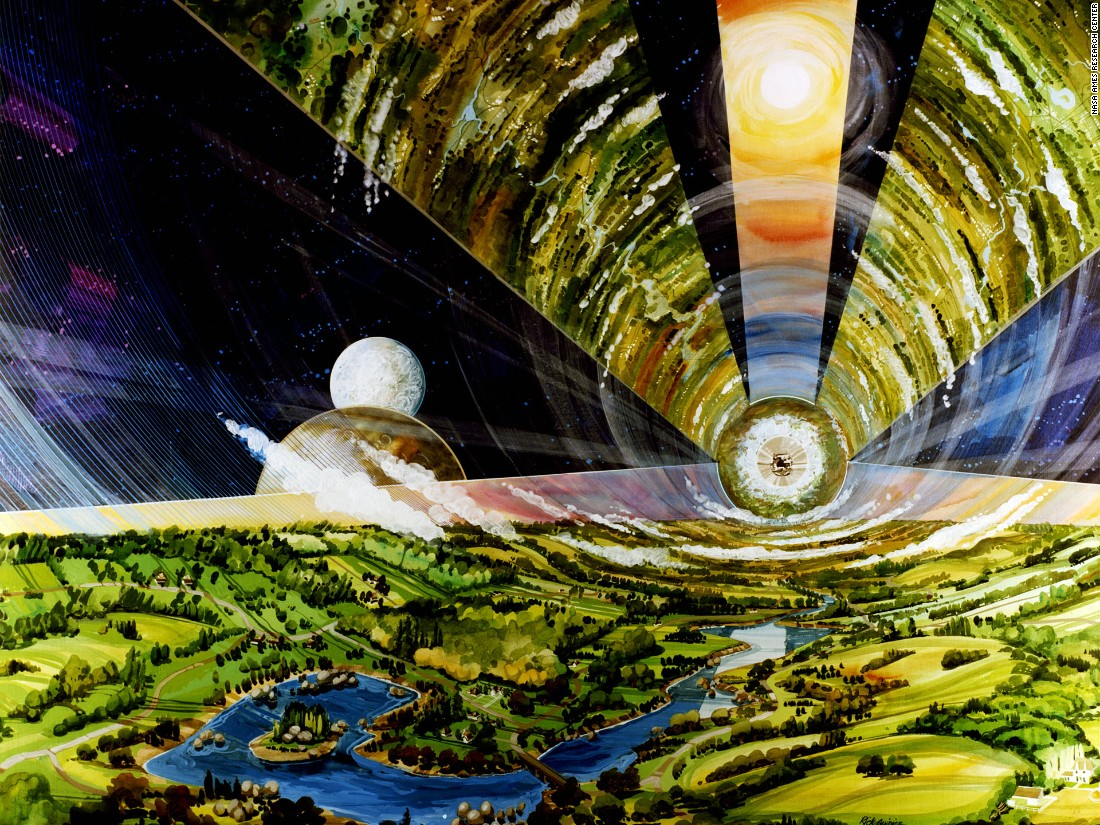 "The Cylindrical Colony, the most spacious of O'Neill's concepts, had huge windows fitted to allow light to filter through to the landscapes within. The design, later dubbed the 'O'Neill Cylinder', was riffed on in Christopher Nolan's intergalactic blockbuster ""<a href=""https://www.youtube.com/watch?v=LRT0GGTWYnM"" target=""_blank"">Interstellar</a>"" forty years later."