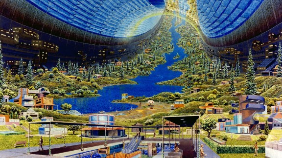 O'Neill's team settled on three potential designs for the future space stations: the Bernal Sphere, the Toroidal Colony (pictured) and the Cylindrical Colony. Potential capacity ranged from 10,000 people to one million, and featured circular designs which rotated to generate artificial gravity.