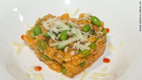 The team from Passaic County Technical Institute made a red pepper risotto dish.
